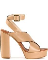 Sandales à talons en cuir beiges Chloé