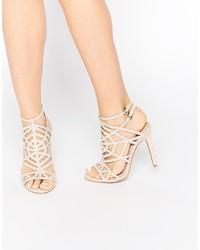 Sandales à talons en cuir beiges Faith