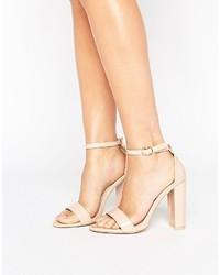 Sandales à talons en cuir beiges Glamorous