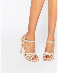 Sandales à talons en cuir beiges Head Over Heels