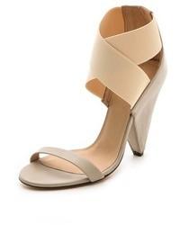 Sandales à talons en cuir beiges IRO