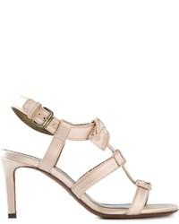 Sandales à talons en cuir beiges Lanvin