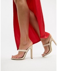 Sandales à talons en cuir beiges Missguided