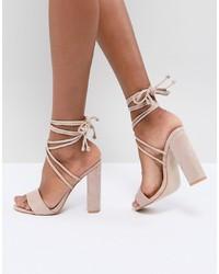 Sandales à talons en cuir beiges Public Desire