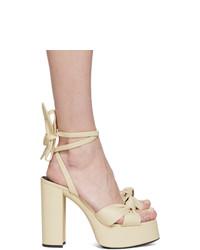 Sandales à talons en cuir beiges Saint Laurent