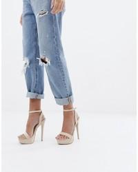 Sandales à talons en cuir beiges SIMMI Shoes