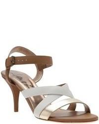 Sandales à talons en cuir blanc et marron Lanvin