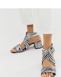 Sandales à talons en cuir blanches et noires ASOS DESIGN