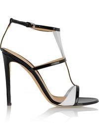 Sandales à talons en cuir blanches et noires Gianvito Rossi