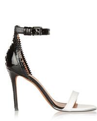 Sandales à talons en cuir blanches et noires Givenchy
