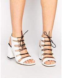 Sandales à talons en cuir blanches et noires Senso
