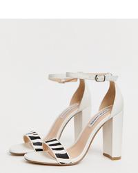 Sandales à talons en cuir blanches et noires Steve Madden