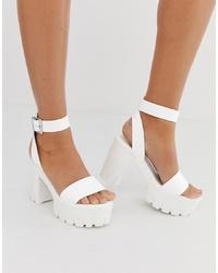 Sandales à talons en cuir blanches ASOS DESIGN