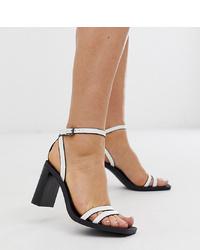Sandales à talons en cuir blanches Bershka