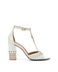 Sandales à talons en cuir blanches Chloé