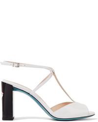 Sandales à talons en cuir blanches Fendi