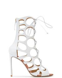 Sandales à talons en cuir blanches Francesco Russo