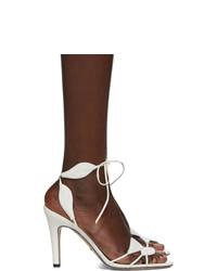 Sandales à talons en cuir blanches Gucci
