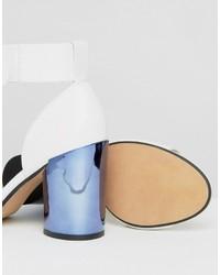 Sandales à talons en cuir blanches Asos