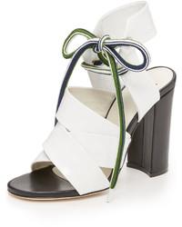 Sandales à talons en cuir blanches MSGM