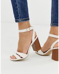 Sandales à talons en cuir blanches New Look