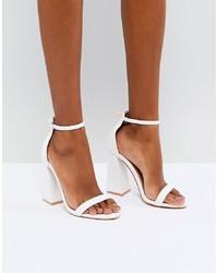 Sandales à talons en cuir blanches Public Desire