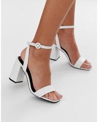 Sandales à talons en cuir blanches RAID