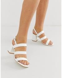 Sandales à talons en cuir blanches Raid Wide Fit
