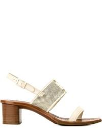Sandales à talons en cuir blanches Tory Burch
