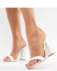 Sandales à talons en cuir blanches Truffle Collection