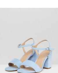 Sandales à talons en cuir bleues claires ASOS DESIGN