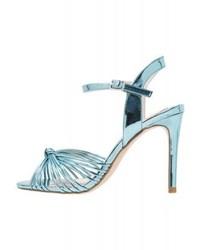 Sandales à talons en cuir bleues claires Faith