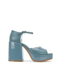 Sandales à talons en cuir bleues claires MM6 MAISON MARGIELA