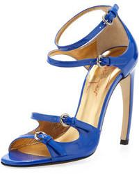 Sandales à talons en cuir bleues