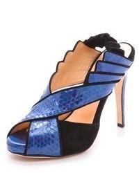 Sandales à talons en cuir bleues Chrissie Morris