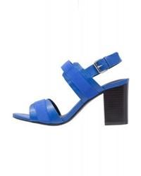 Sandales à talons en cuir bleues Divine Factory