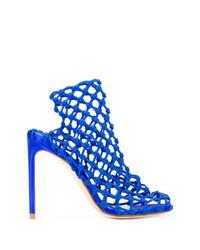 Sandales à talons en cuir bleues Francesco Russo