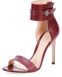 Sandales à talons en cuir bordeaux