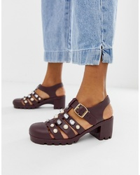Sandales à talons en cuir bordeaux ASOS DESIGN