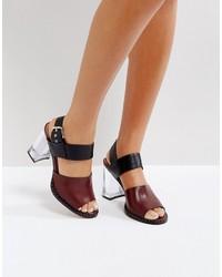 Sandales à talons en cuir bordeaux Asos