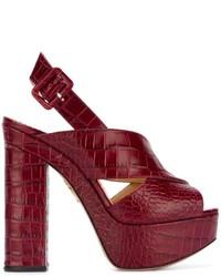 Sandales à talons en cuir bordeaux Charlotte Olympia