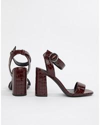 Sandales à talons en cuir bordeaux New Look