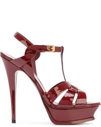 Sandales à talons en cuir bordeaux Saint Laurent