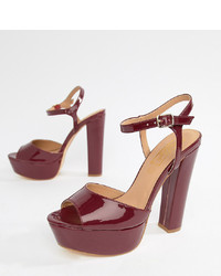 Sandales à talons en cuir bordeaux Truffle Collection