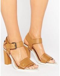 Sandales à talons en cuir brunes claires G Star