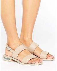 Sandales à talons en cuir brunes claires Park Lane