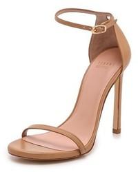 Sandales à talons en cuir brunes claires Stuart Weitzman