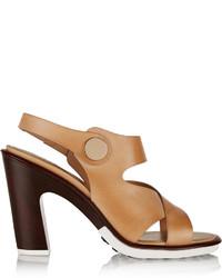 Sandales à talons en cuir brunes claires Tod's