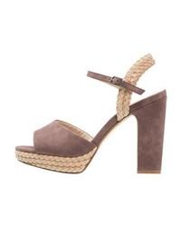 Sandales à talons en cuir brunes Anna Field