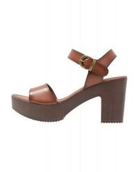 Sandales à talons en cuir brunes Divine Factory
